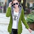 Корейский стиль осень и зима Новый больших размеров женская с капюшоном пальто теплое и краткое пять имеющийся цвет дамы пальто JT352