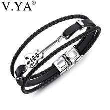 V.YA Multilayer Genuine Leather DIY Guitar Man Bracelets Classical Engrave Rope Chain Design Men Jewelry Magnet Buckle Drop Ship(China)