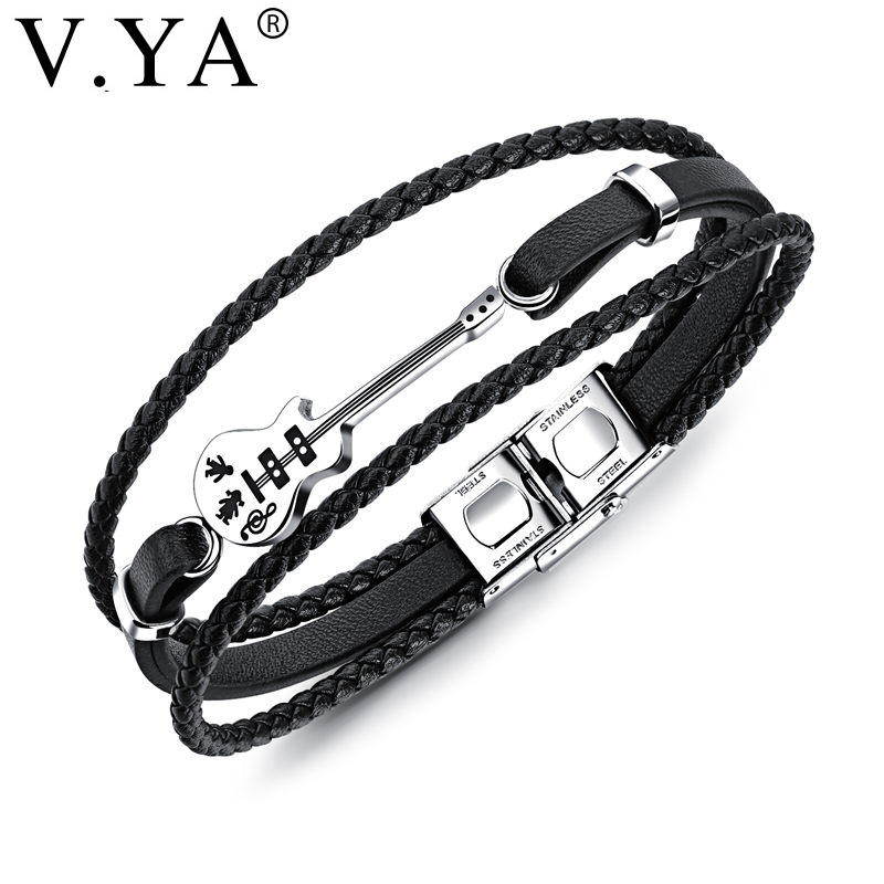 V.YA Multilayer Genuine Leather Guitar Man Bracelets Classical Rope Chain Design Men Jewelry Magnet Buckle Drop Ship