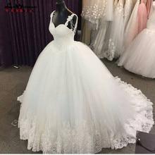 Vestidos de novia con cuentas de encaje de la princesa Fluffy Vestidos de novia formales románticos largos 2018 Nuevo diseño por encargo EB02A