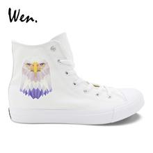 Wen Classic White Canvas Shoes Original Design Eagle Prints Vulcanized Shoes Men lacing Casual Flat Women Sneakers Plimsolls