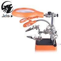 Jelbo Welding Magnifying Glass 5 LED Light 2 5X 7 5X Lens Auxiliary Clip Loupe Desktop