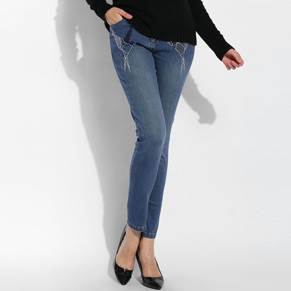 ФОТО Fanala Pencil Jeans Woman New Fashion High Waist Full Length Zipper Slim Fit Skinny Bird Embroidery Spring Autumn Women Pants