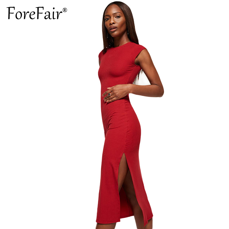 Forefair 2017 Knitted Cotton Dress Women Slim Bodycon Party Dresses Black Red Sleeveless O Neck High Split Midi Dress