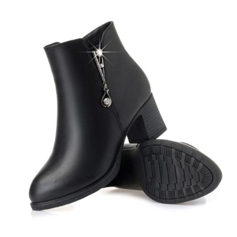 Chaud black D'hiver Cuir Bottes Mode Single Boots Cheville 2018 Boots Automne En Femme Chaussures Winter Nouveau Black Strass Confort Boots Femmes Vache red Et PO80knwX