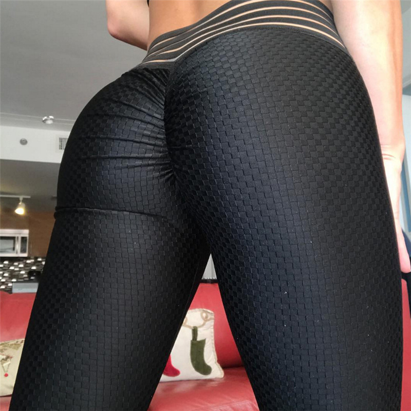 2018 Women New Black Scrunch Butt   leggings   Striped Waistband Ruched Pants Push Up Booty Scrunch   Leggings   Workout   leggings