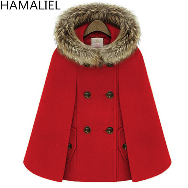 3059c92ed5b4 Autumn Winter Double-Breasted Cloak Cape Woollen Coat Women Red Fur Hooded  Tweed Poncho Thick Warm Batwing Sleeve Loose Outwear