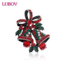 1x HIgh-end crystal rhinestone Christmas small bell brooch European Fashion Glazed Breastpin Women Christmas Gift Jewelry