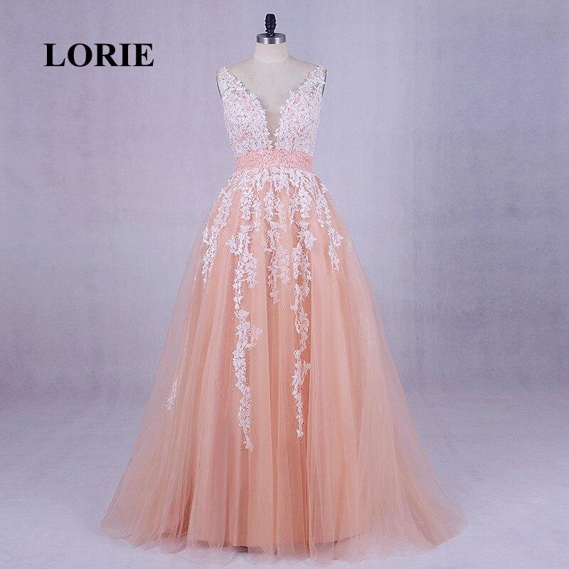 LORIE Korallen Abendkleider 2017 Real Photo Appliques Spitze A-Line Plus Size Abendkleid für Abschluss Tüll Hochzeit Party Kleid