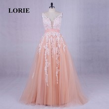 LORIE Coral Evening Dresses 2019 Real Photo Appliques Lace A-Line Plus Size Prom Dress for Graduation Tulle Wedding Party Gown