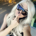 OFIR Fashion Large Frame Glasses Personalized Woven Sun Glasses Fine Metal Hollow Legs Mirror Sunglasses XFT-46