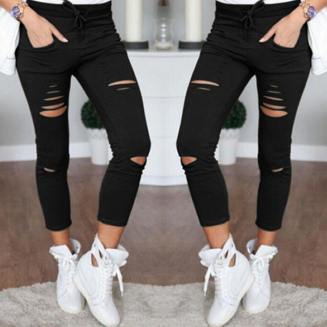 Women's Fitness Leggings High Wasit Elastic Pencil Pants Workout Women Slim Trousers Hole Ripped Jeans Legging Clothes