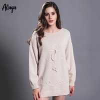 Осень Новый корейский стиль свободные дамы шею вязаные свитера 100% из чистого кашемира вышитые пуловеры Длинные женские топы 2018