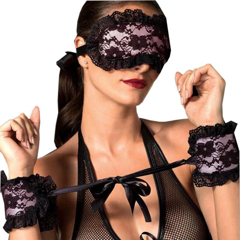 Ropa exótica sexy Ropa interior de mujer Máscara de encaje sexy sexy Con los ojos vendados Parche + Esposas sexuales Lencería erótica Mujeres