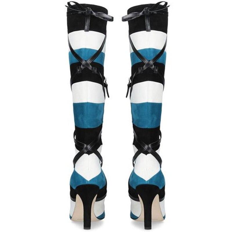 Nuevas botas sobre la rodilla de invierno para mujer, botas altas de ante con punta estrecha y cordones de cuero con rayas de arlequín en contraste - 2