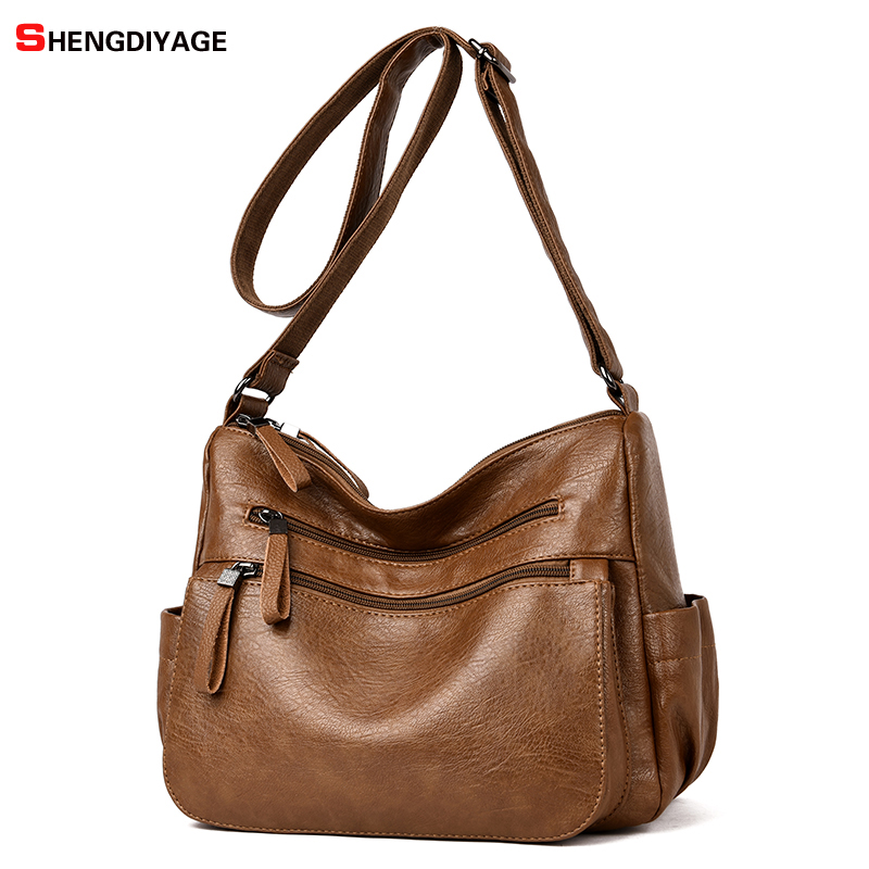 Split Leather Women Bags Hobos Handbags Female Shoulder Bags Famous Brand Crossbody Bag Designer Women Messenger Bags SAC Bolsos famous messenger bags for women fashion crossbody bags brand designer women shoulder bags bolosa
