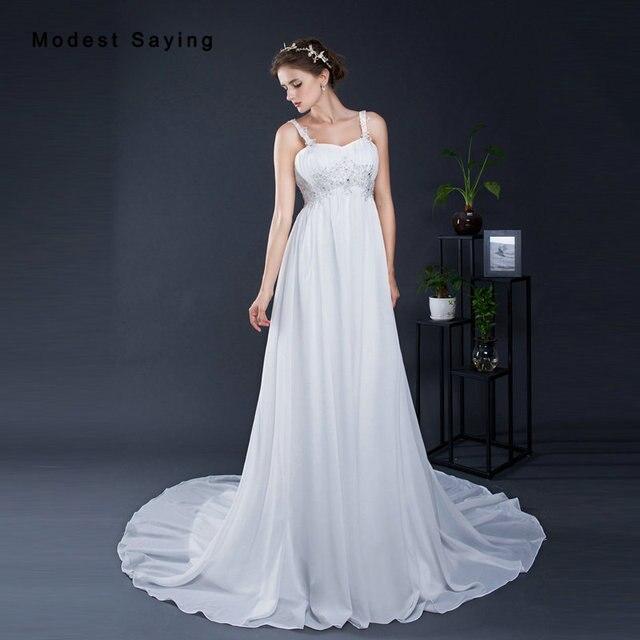 Elegant White Empire Beaded Pleated Straps Lace Pregnant Wedding ...