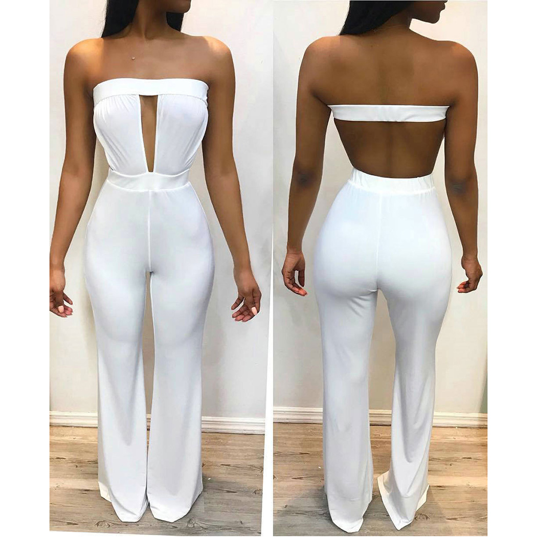 Women Strapless   Jumpsuits   Backless 2018 Summer Casual Spaghetti Strap Off Shoulder Solid Rompers Female Overalls