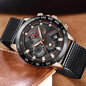 Image 2 - Lige relógios masculinos quartz, marca de luxo, casual, magro, malha de aço, à prova d água, esportivo, relógio 2019