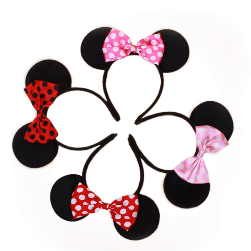 Hair Band Mini Mouse Animal Ears Girl   Headwear   2017 Animal Ear Headpiece Bow Knot Birthday 0-8Years Baby Party Headband