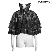 Lolita Lace Flower Mesh Fabric Cloak Double Layer Lace shawl Halloween Christmas High Collar Cosplay Wraps PUNK RAVE LY 060