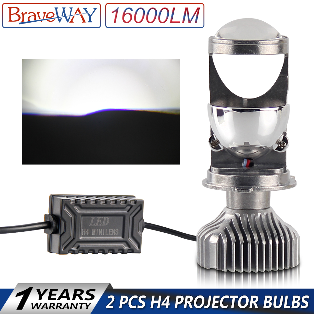 BraveWay Mini Led Projector Headlight Bulbs for Car Error Free H4 LED CANBUS LED Bulbs with Mini Lens 100W 16000LM 5500K 12V/24V