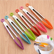 1pc Silicone Kitchen Clips Long Handle Stainless steel Food Tongs Tongs Lock Barbecue Clip Clamp Practical Convenient Bowl Clips