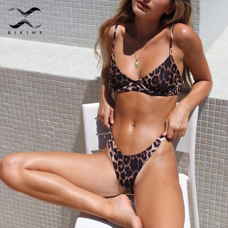 Bikinx Brazilian bikini 2018 V bottom thong women bathing suit Micro bikini leopard print push up swimsuit female sexy swimwear диван угловой артмебель атлант ут микровельвет бежевый правый
