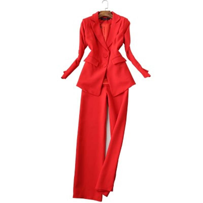 Red suit suit women autumn New fashion female self cultivation ladies long sleeved small suit straight