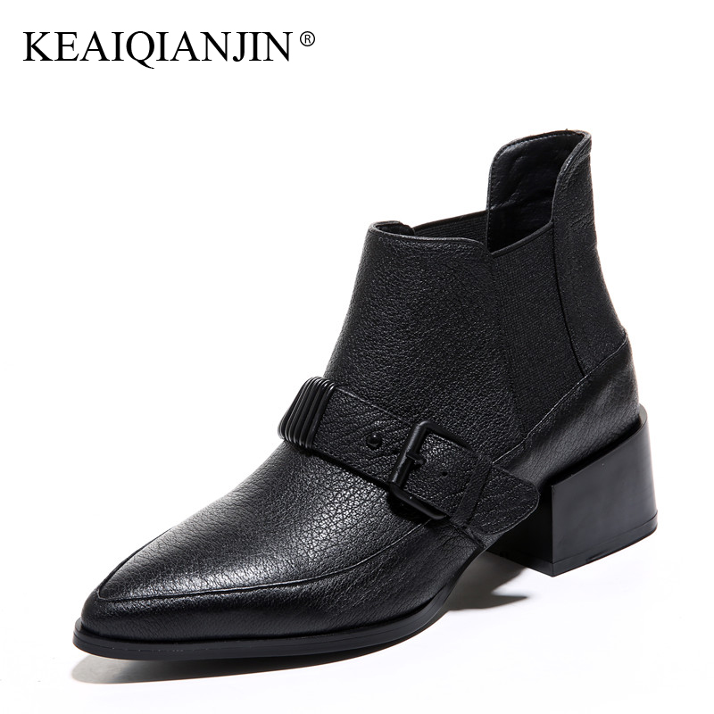KEAIQIANJIN Woman Pointed Toe Ankle Boots Black Autumn Winter Genuine Leather Shoes Fashion Metal Decoration Chelsea Boots 2017 anime cartoon tokyo ghoul cosplay backpack schoolbag one piece gintama school bag rucksack men s women s naruto travel bag