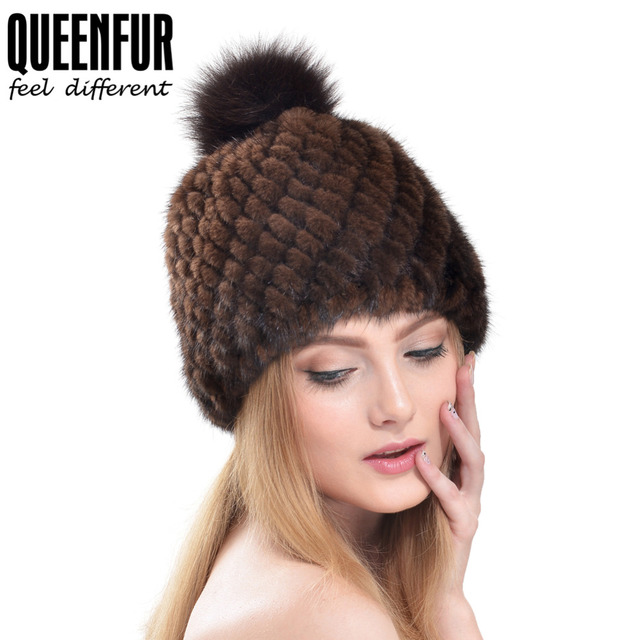 QUEENFUR 2016 Luxury Real Knitted Mink Fur With Fox Fur Pom Poms Cap Female Fashion Genuine Fur Beanies Hat Good Quality