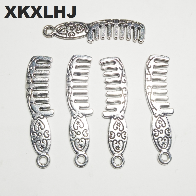 XKXLHJ 10pcs Charms comb 34*8mm Tibetan Silver Plated Pendants Antique Jewelry Making DIY Handmade Craft