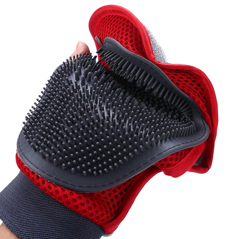 Soft Mitt Pet Grooming Glove Brush for Long & Short Hair Pets to Eliminate Shedding Useful for Combing and Cleaning of Pets 13