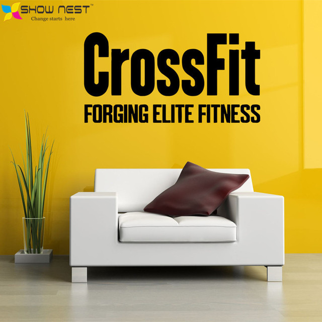 Crossfit Decals   Bodybuilding Fitness Center Sport Wall Mural Decor   Gym  Wallpaper Design   Fitness