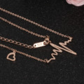Love pulsating  clavicle necklace titanium steel plating rose gold female models pendants gift wholesale GX991 30pcs/lot