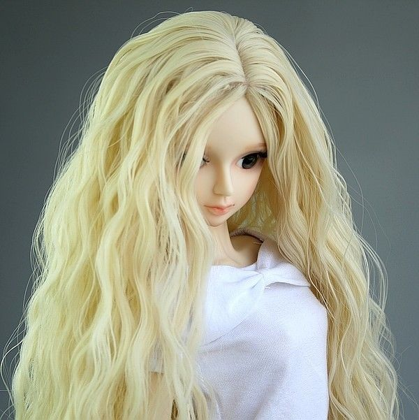 Pale Blonde wavy wig for 1/4 SD DOD AOD LUTS BJD Dollfie 1 3 bjd cute boots bjd boots sd dod luts bjd dz shoes sh05