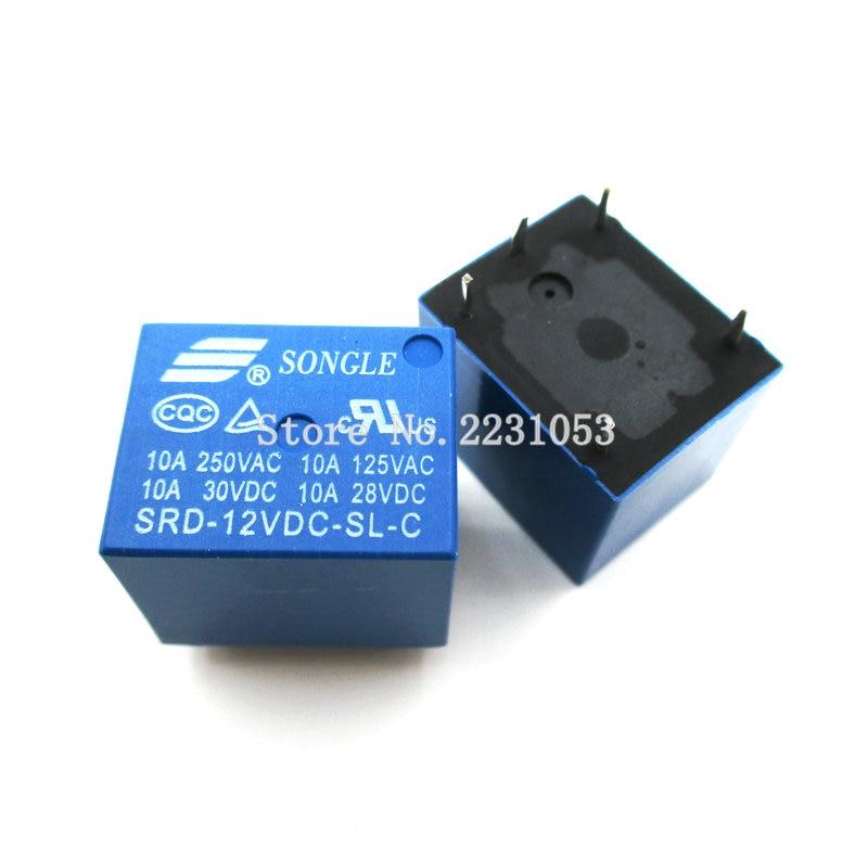 10pcs  Lot Srd 12vdc Sl C Relay T73 12v 5 Pin Pcb Type 10a 12v Dc Power Relay