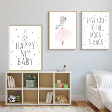 Nordic Kids Poster Ballet Dancer Paintings Quotes Posters And Prints Pink Cartoon Nursery Girl Wall Picture Home Decor Unframed posters and prints kids room cartoon rabbit paintings wall decor picture poster nursery wall art nordic poster pink unframed