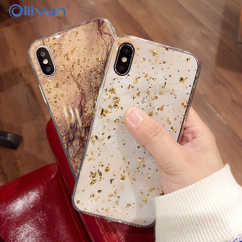 Luxury Gold Foil Bling Marble Phone Case For iPhone X XS Max XR Soft TPU Cover For iPhone 7 8 6 6s Plus Stone Case Coque Funda