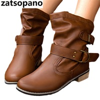 Zatsopano Brand PU Leather Motorcycle Boots Biker Shoes Women Gothic Punk Comfort Booties Platform Boots Ankle Boots for Women