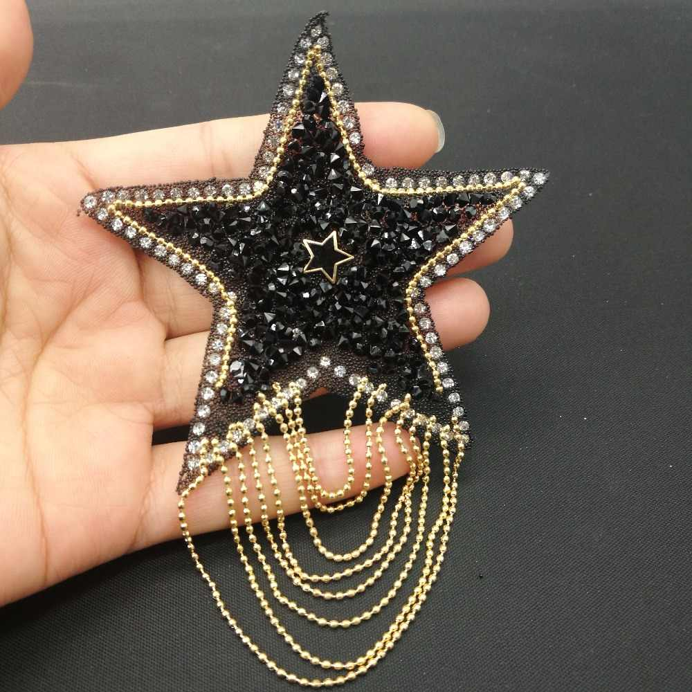 ... 1 pcs 8.5cm Star Patches hotfix rhinestone trim iron on rhinestones  Crystal motifs applique for ... e44a73a60e57