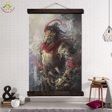 Samurai Japan Single Framed Scroll Painting Modern Canvas Art Prints Poster Wall  Artwork Pictures Home Decor