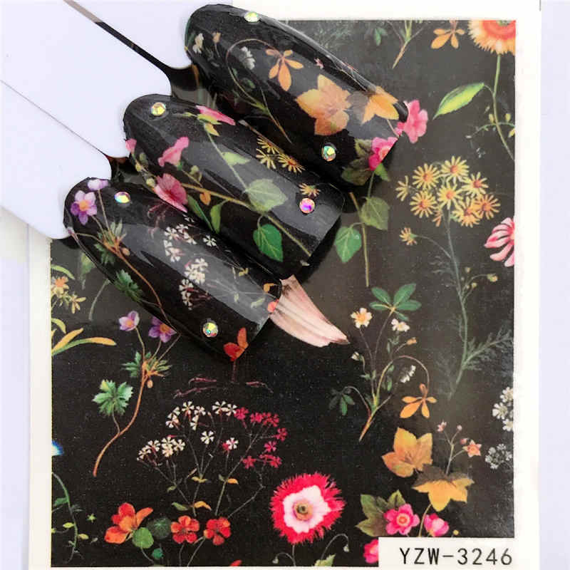WUF 1 Sheet Leopard / Black Rose / Flower Water Transfer Nail Art Sticker  Beauty Red Maple Leaf Decal Nails Art Decorations