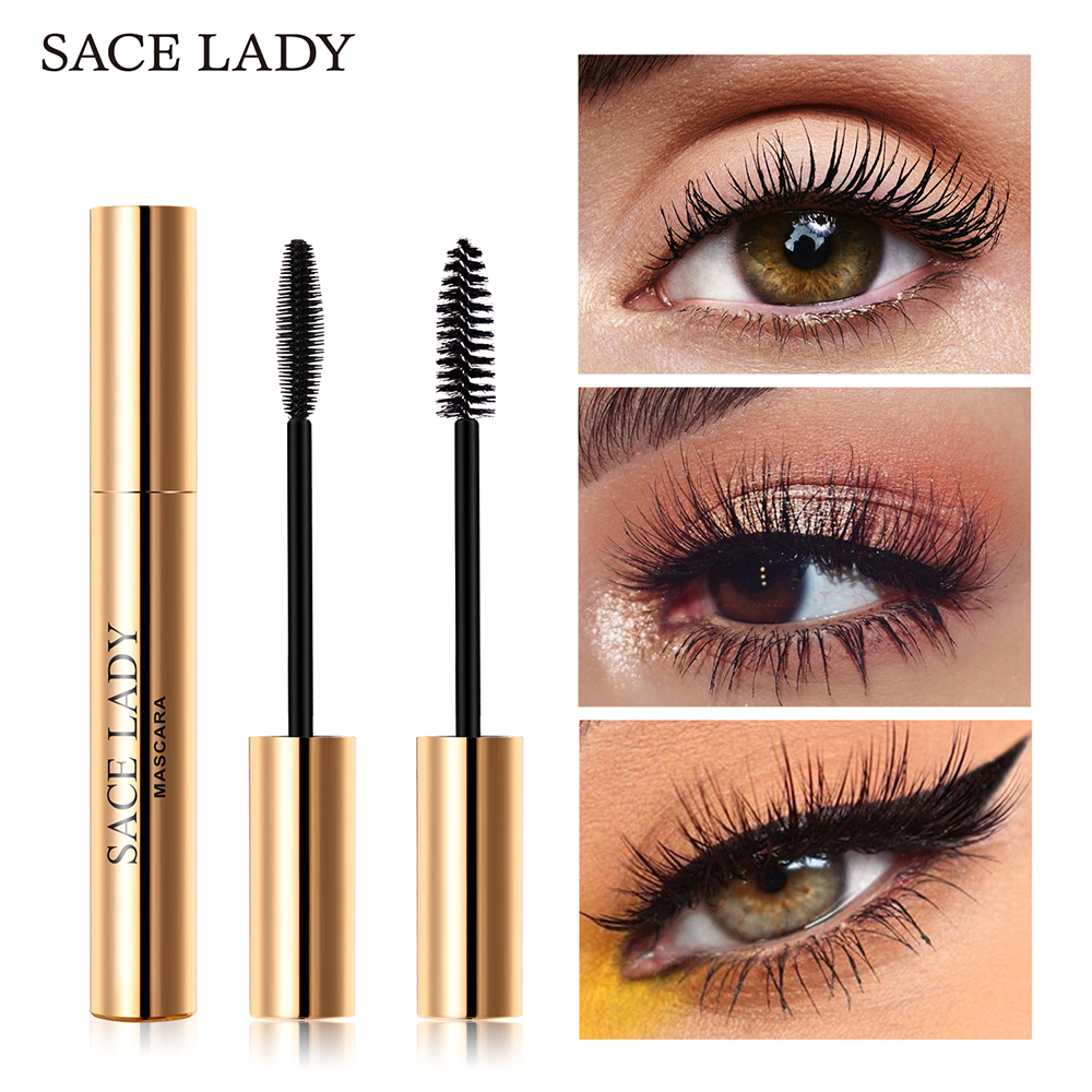 SACE LADY Eyelash Mascara Makeup Curling Thick Eyelash Waterproof 4D Silk Fiber Rimel Extension Volume Eye Lashes Cosmetic