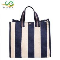 MLITDIS Beach Canvas Bag Fashion Color Stripe Printing Handbags Ladies Large Shoulder Bag Totes Casual Bolsa Shopping Bags Women