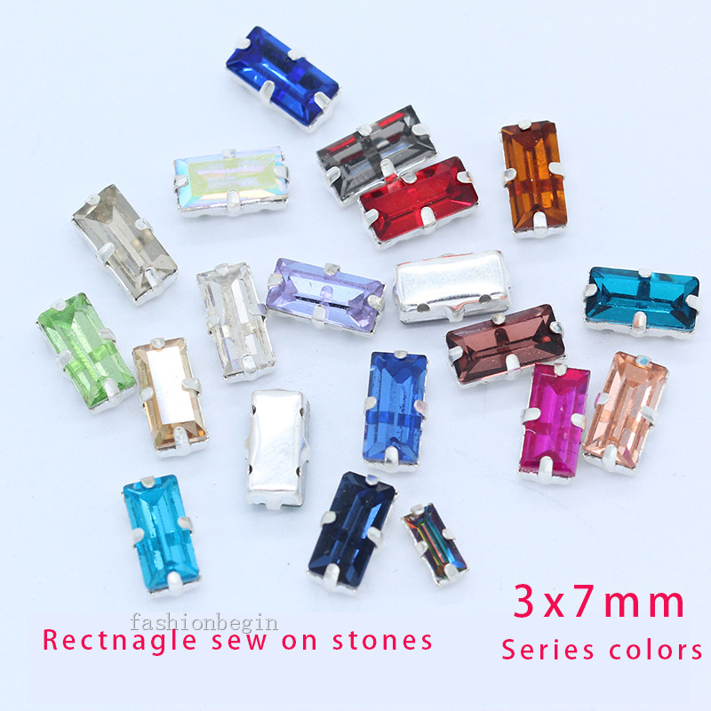 50p 3x7mm Color rectangle stone sew on faceted crystal glass rhinestone Silver plated 4Hole setting jewellery Dress making beads