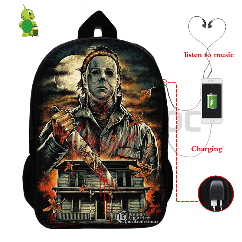 Horrible Halloween Michael Myers Backpack Multifunction USB Charge School Bags For Teenage Girls Boys Large Travel Bags