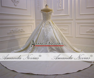 Image 4 - Свадебное атласное платье с лямками, robe de mariage 2019