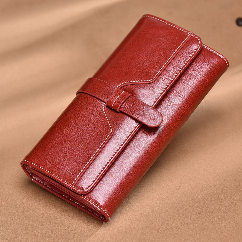 Female Long Retro Oil Wax Cowhide Genuine Leather Drawstring Wallet Lady Hand Bag Multi-card Bit Purse Coin Dollars Holder new head layer cowhide purse female butterfly skin carving bag long wallet retro handbag leather lady purse