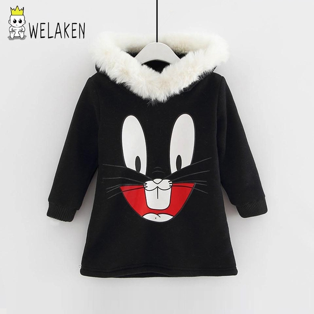 Autumn Winter Girls Warm Hoodies Lovely Cartoon Rabbit Pattern Long Sleeve Hooded Baby Tops Apparel Thick Kids Sweatshirts